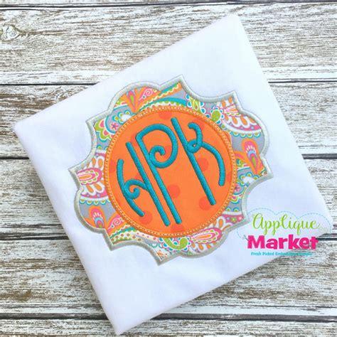 applique market lilly circle monogram applique design