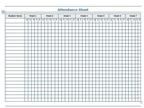 printable attendance sheet templates