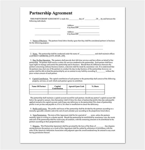 business partnership agreement template partnership agreement template 12 agreements for word doc pdf