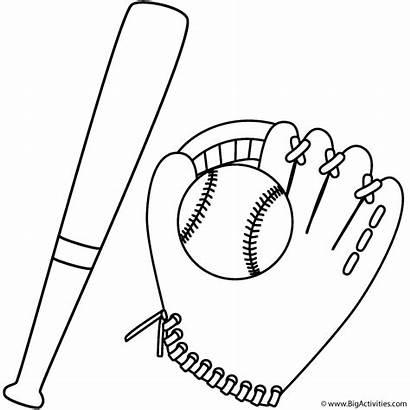 Baseball Bat Coloring Glove Pages Ball Sports