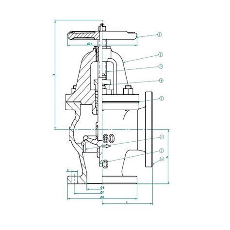 Angle Valve Diagram by Marine Cast Iron Angle Valve Sdnr Jis F7378 16k