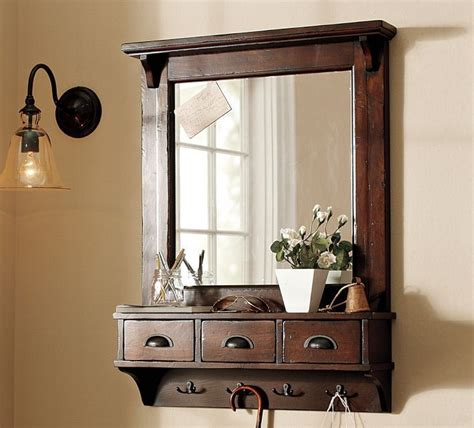 pottery barn entryway wall mounted entryway mirror with drawers and hooks