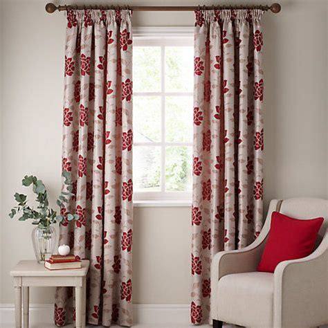 john lewis lucia pencil pleat lined curtains pair red   curtains pencil pleat
