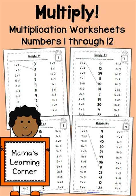 multiplication worksheets numbers 1 through 12 focus on facts and places