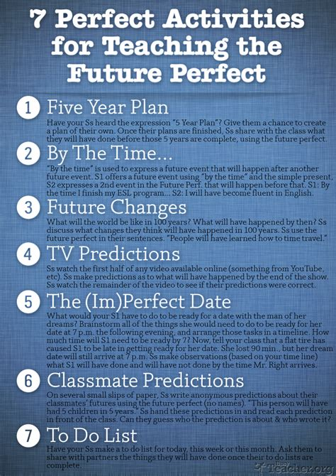 perfect activities  teach  future perfect poster