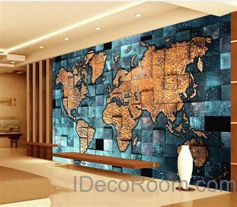 3d Wallpaper Deco by 3d Blue Abstract World Map Wallpaper Wall Decals