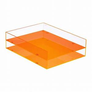 poppin neon orange acrylic stackable letter tray the With lucite letter tray