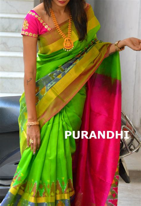 parrot green uppada checks saree with pochally border for more details contact us on