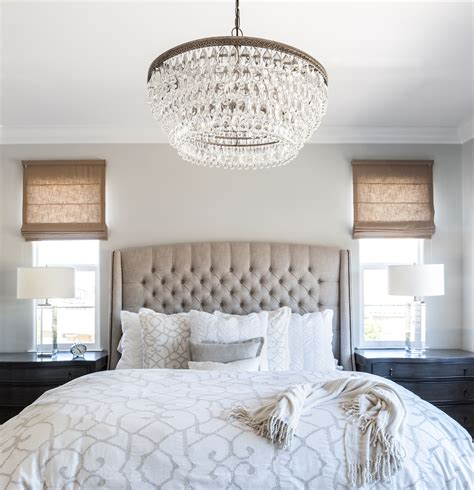 Master Bedroom Linen Bed Roman Shades Cream Bedding