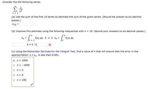 solved consider the the following series infinity sigma n chegg