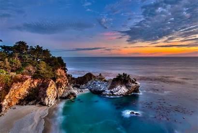 Sur Ocean Sunset Pacific Coast California Waterfall