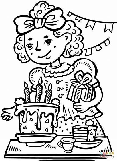 Coloring Birthday Pages Party Clipart Cake Printable