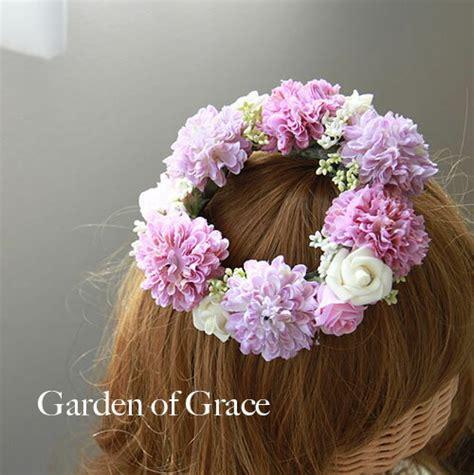 garden of grace 楽天市場 送料無料 即納 ラベンダーカラー基調のミニ花冠 斜めにつける ナチュラル シルクフラワー 薔薇