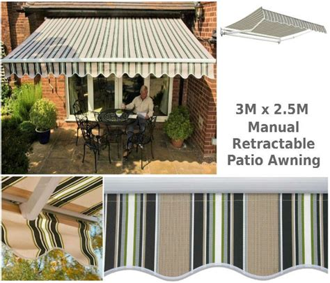 3m x 2 5m retractable patio awning 3m x 2 5m lido b g