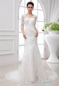 Glamour v neck fit flare lace wedding dress with sheer for Lace fit and flare wedding dress with sleeves