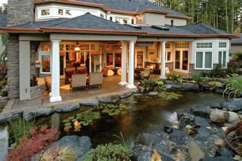 Backyard Porch Designs For Houses by Backyard Water Features House Plans And More