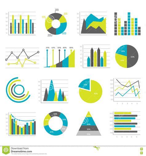 graphs flat icons set stock vector illustration
