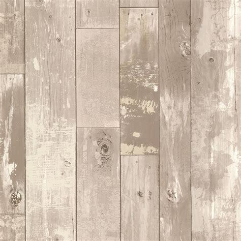 Brewster Heim Grey Distressed Wood Panel Wallpaper 2718