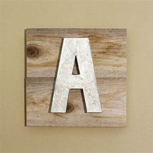 metallic silver letter a reclaimed rustic wood art sign With reclaimed sign letters