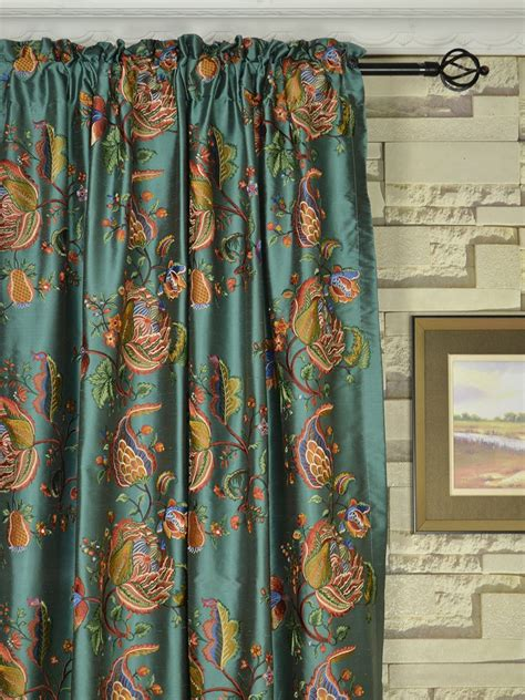Custom Made Drapery by Halo Embroidered Multi Color Scenery Dupioni Silk Custom