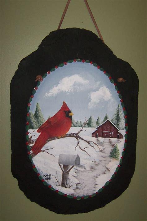 slate  cardinal  barn snow scene painting snow