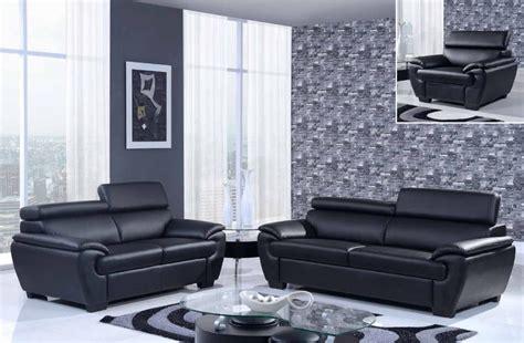 Contemporary Bonded Leather 3-piece Black Sofa Set El Paso