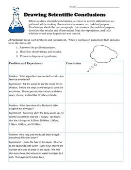 Drawing Scientific Conclusions Worksheet Tpt