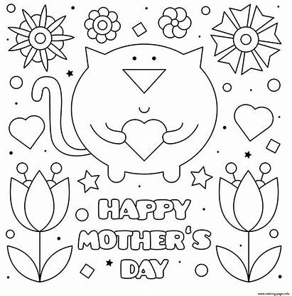 Mothers Printable Coloring Cards Cat Pages Mother