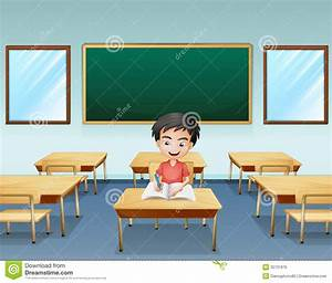 A Boy Inside A Classroom With An Empty Board At The Back ...
