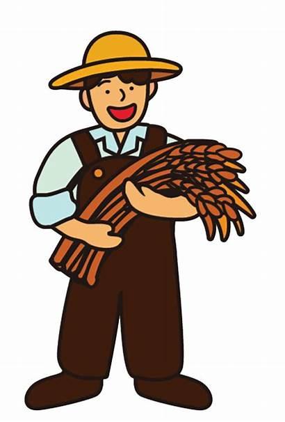 Cartoon Clipart Farmer Wheat Grains Farming Hat