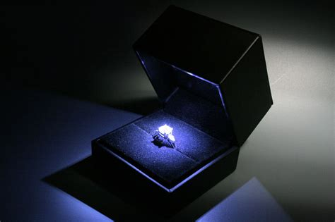 Ring Box With Light deluxe black leatherette suede jewelry engagement ring