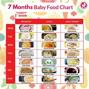 7 Months Baby Food Chart My Little Moppet