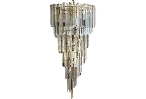 Large Sprial Midcentury Modern Venini Style Chandelier