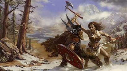 Viking Warrior Axe Battle Shield Nature Helmet