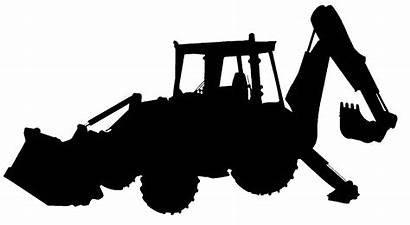 Backhoe Excavator Clipart Construction Silhouette Vector Clip