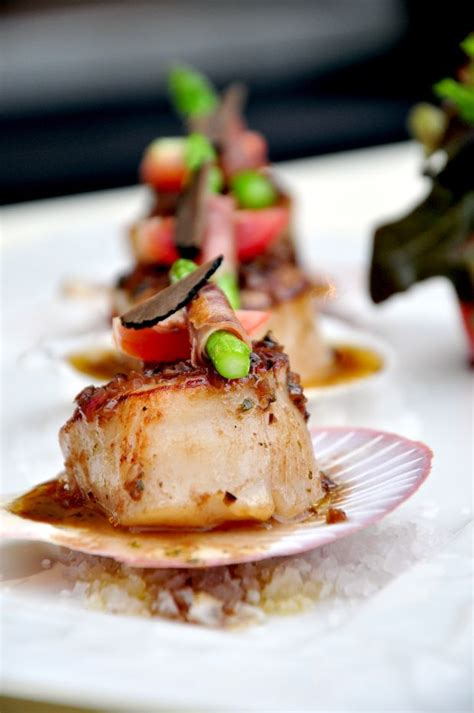 beautiful canapes recipes canapes roasted japanese scallop black olive sauce