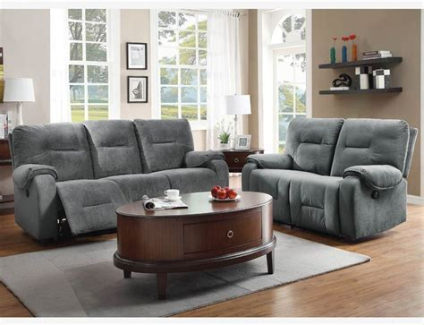 Reclining Microfiber Sofa And Loveseat Set by Blue Grey Microfiber Power Reclining Sofa Loveseat