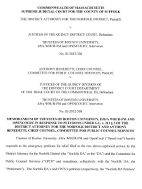 OpenCourt Brief to Single Justice Botsford of the Mass SJC