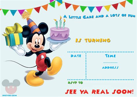 printable mickey mouse party invitation template