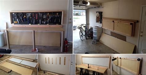 build  wall mounted folding workbench home