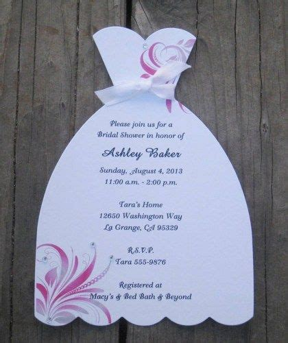 wedding dress bridal shower invitations  swirls set