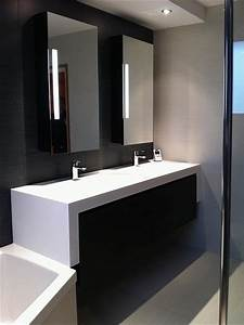 double meuble vasque au design contemporain catherine rouilly With salle de bain design contemporain