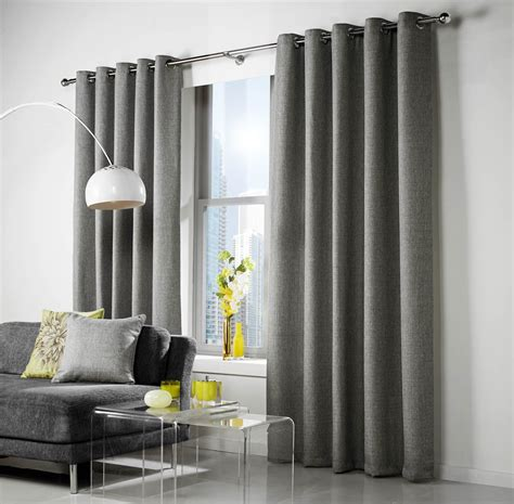 grey woven fully lined ring top curtains drapes 8 sizes