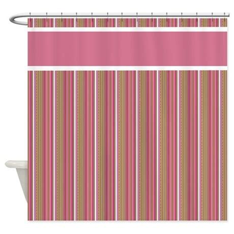 pink and brown stripes shower curtain by stolenmomentsph