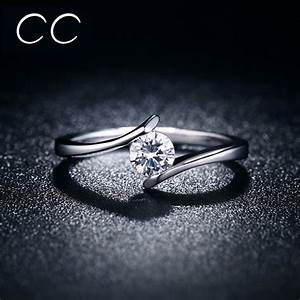 simple design engagement ring white clear zirconia classic With pics wedding rings