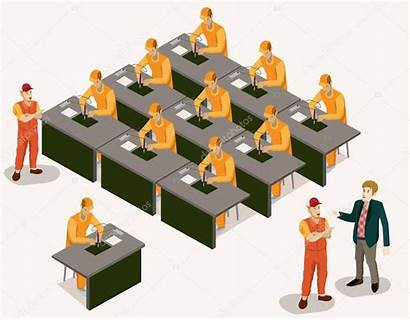 Factory Vector Isometric Workers Electronic Illustration Soldering