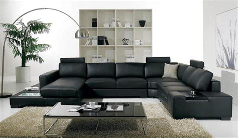 Very Elegant Black Leather Living Room Furniture Sets