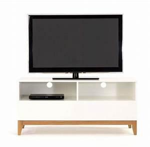 Meuble Tv Arrondi : affordable meuble tv bois blanc et bois brut with meuble tv arrondi bois ~ Teatrodelosmanantiales.com Idées de Décoration