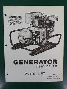 Vintage Homelite Generator Parts List Manual 119 Hy 35