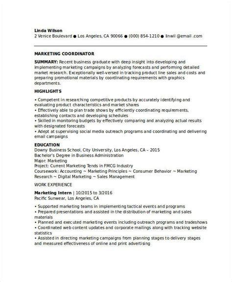 entry level marketing coordinator resume marketing resume sles for successful hunters